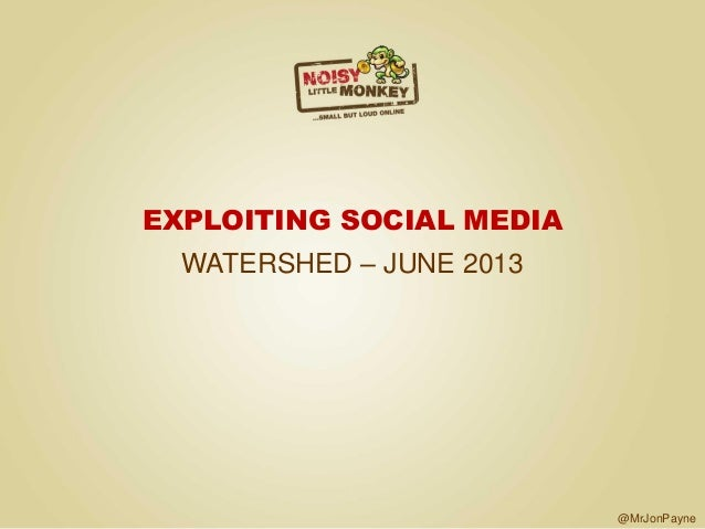 SCB Networking at the Watershed June 2013 - Exploiting Social Media noisy little monkey