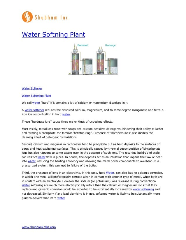 """www.shubhamindia.com Water Softning Plant Water Softener Water Softening Plant We call water """"hard"""" if it contains a lot o..."""