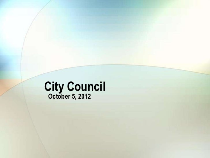 City Council October 5, 2012 Water supply update