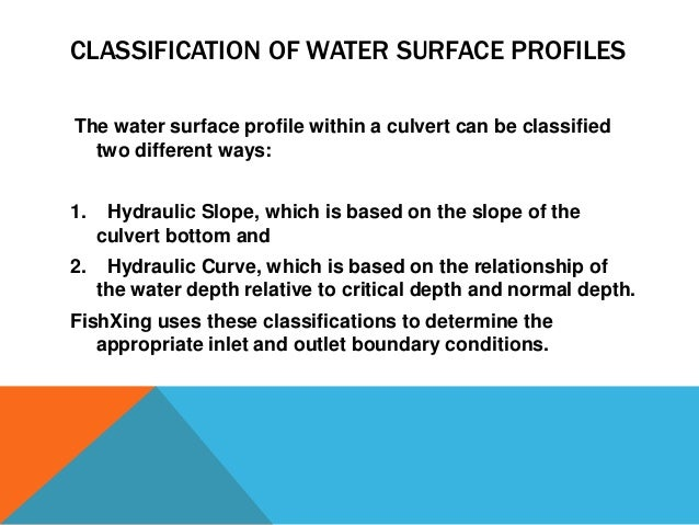 Water Surface Profile of Water Surface Profiles