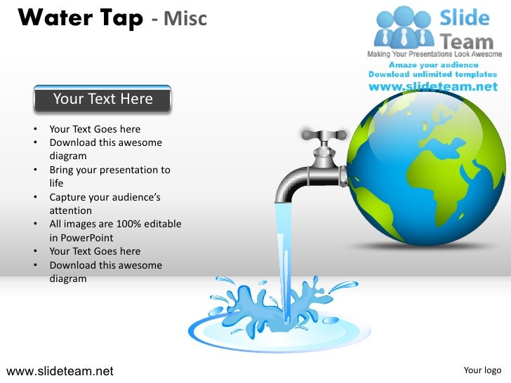 Water tap wastage of water conservation misc powerpoint ppt slides.