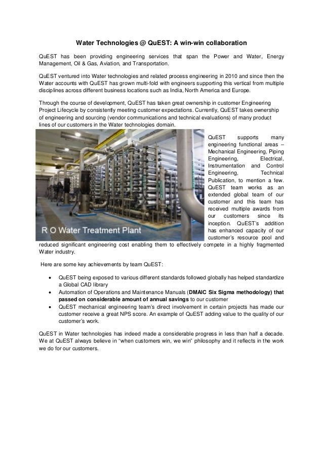 Water Technologies @ QuEST: A win-win collaboration QuEST has been providing engineering services that span the Power and ...