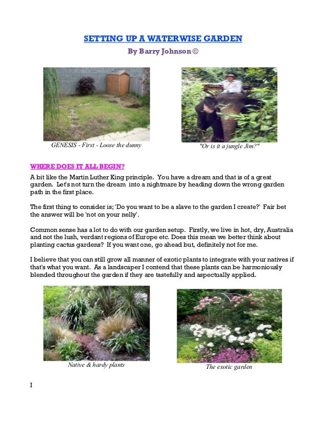 SETTING UP A WATERWISE GARDEN                                     By Barry Johnson ©       GENESIS - First - Loose the dun...