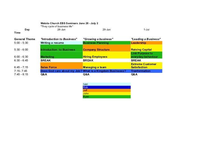 Watoto church Business Seminar schedule
