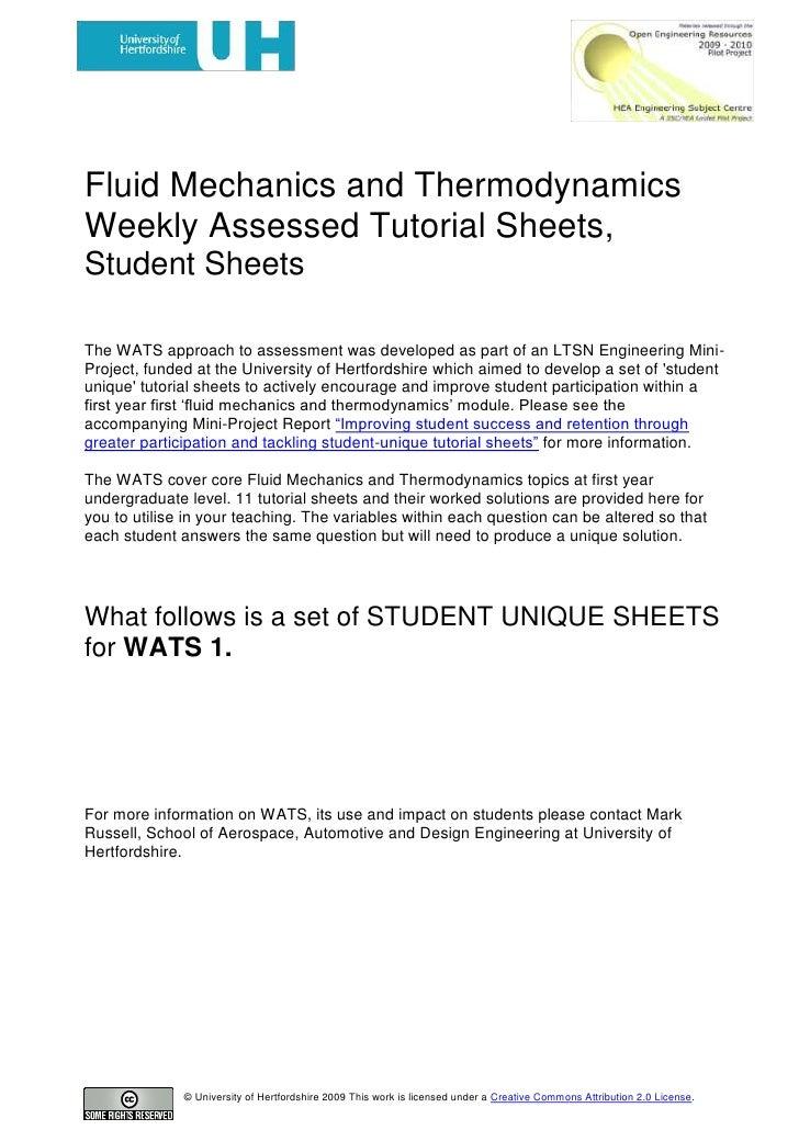 WATS 1 (1-50) Fluid Mechanics and Thermodynamics
