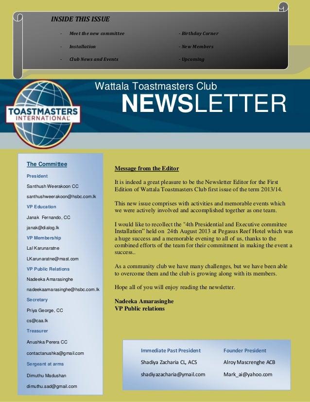 Newsletter of Wattala Toastmasters