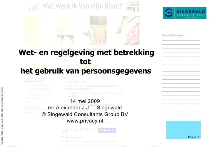 Wet- en regelgeving met betrekking tot  het gebruik van persoonsgegevens   14 mei 2009 mr Alexander J.J.T. Singewald © Sin...