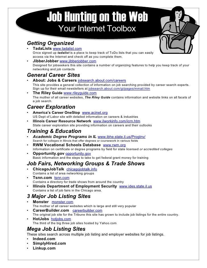 Job Hunting on the Web                        Your Internet Toolbox Getting Organized •   TadaLists www.tadalist.com     O...