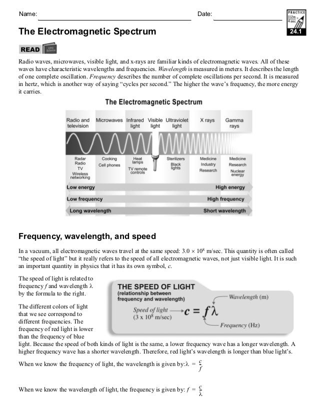 Electromagnetic spectrum worksheet answers