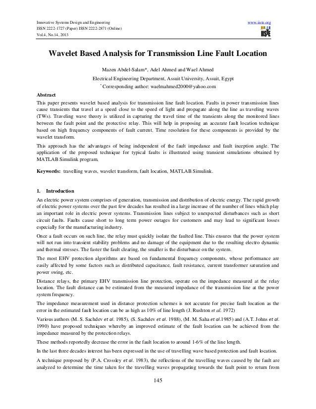 Wavelet based analysis for transmission line fault location