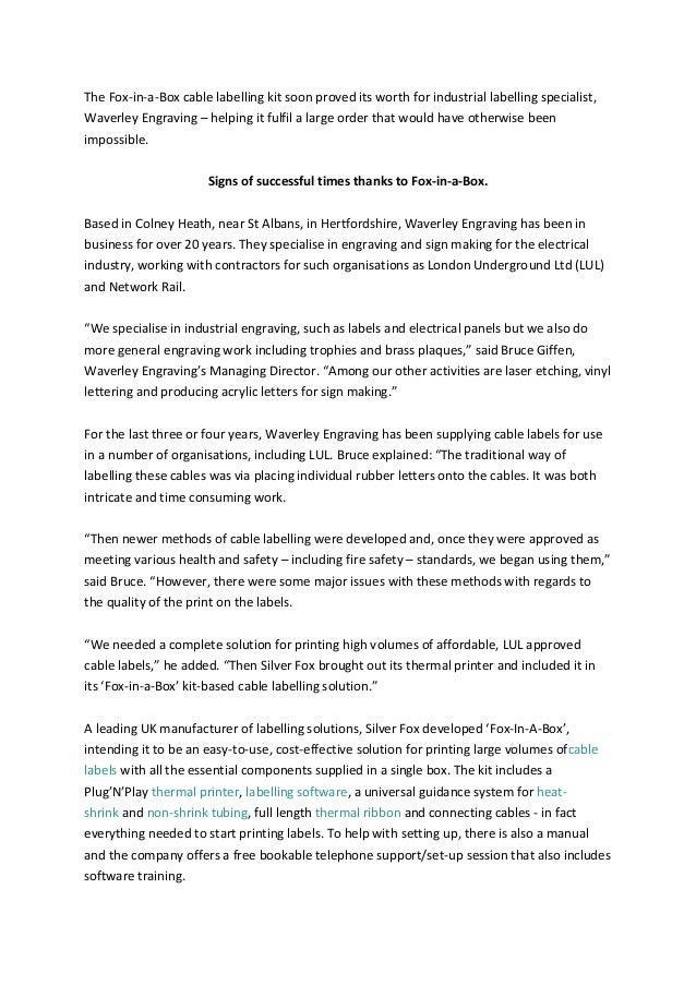 Silver Fox - Waverley Engraving Case Study