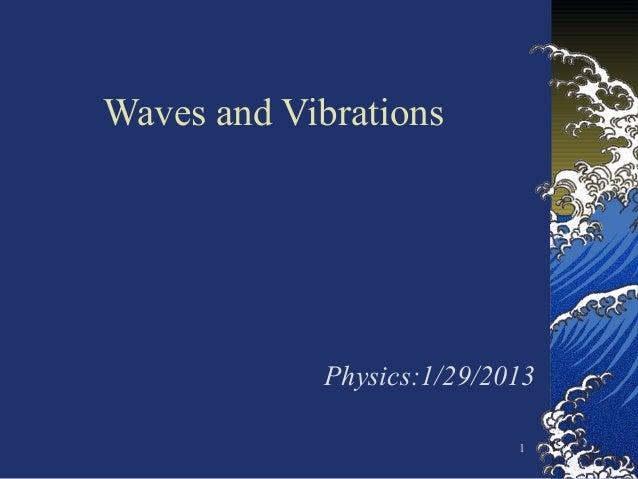 1Waves and VibrationsPhysics:1/29/2013