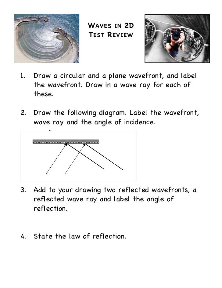 W AVES IN 2D                    T EST R EVIEW1.   Draw a circular and a plane wavefront, and label     the wavefront. Draw...