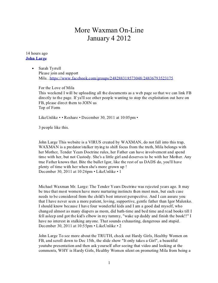 Waxman on line jan 4 2012