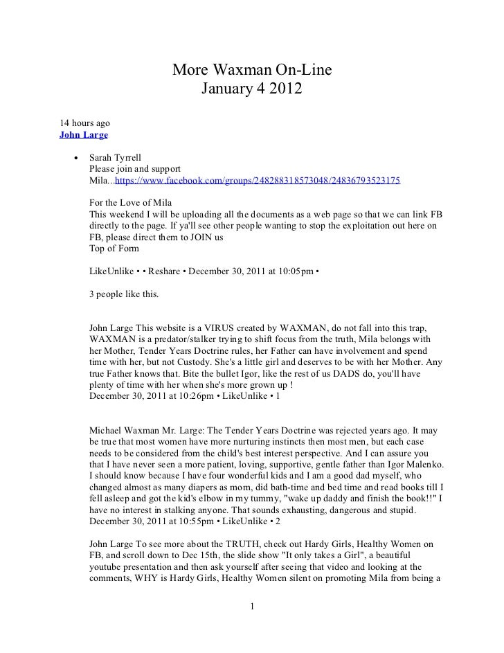 More Waxman On-Line                                January 4 201214 hours agoJohn Large   •   Sarah Tyrrell       Please j...