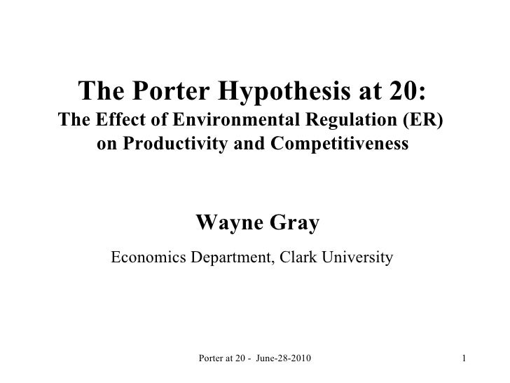 The Porter Hypothesis at 20:  The Effect of Environmental Regulation (ER)  on Productivity and Competitiveness  Wayne Gra...