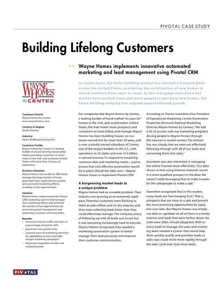 Pivotal CRM Wayne Homes - case study