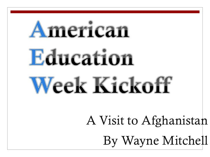 Wayne Mitchell visits a school in Afghanistan