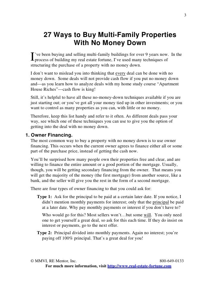 27 Ways To Buy Multi Family Properties With No Money Down
