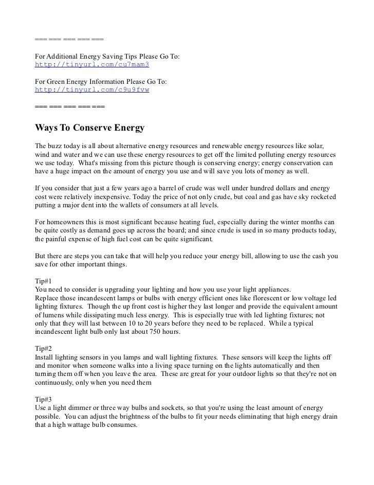 Tips On Ways to conserve energy