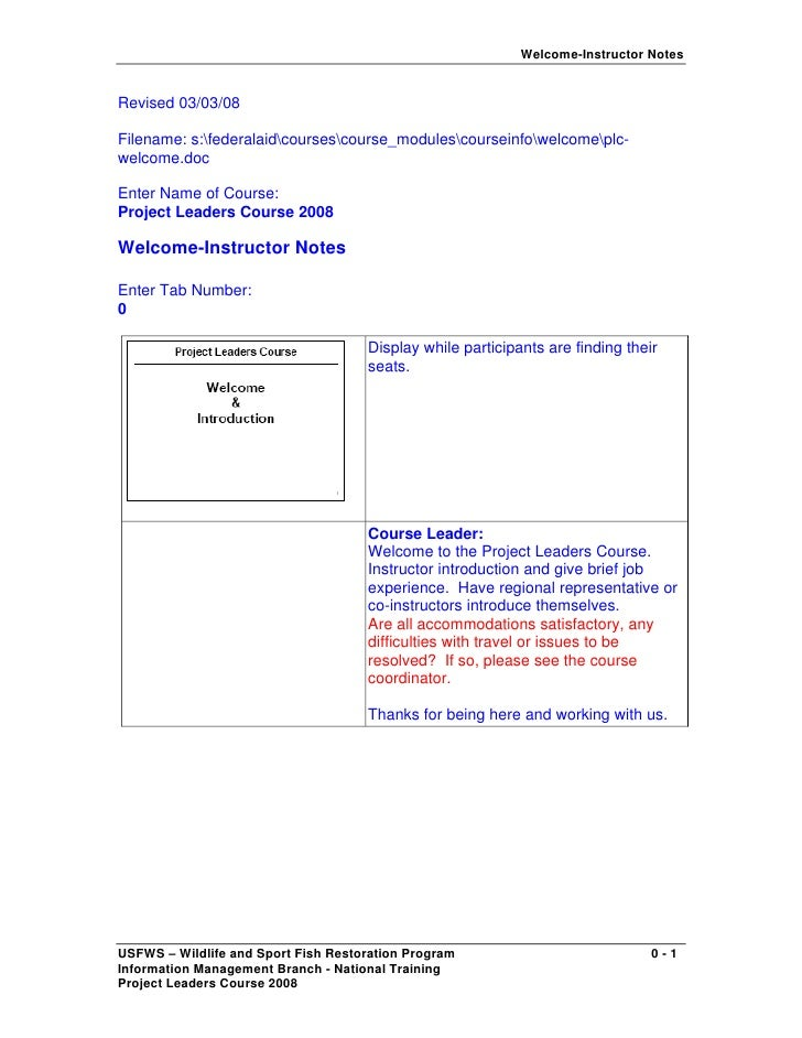 Welcome-Instructor Notes   Revised 03/03/08  Filename: s:federalaidcoursescourse_modulescourseinfowelcomeplc- welcome.doc ...