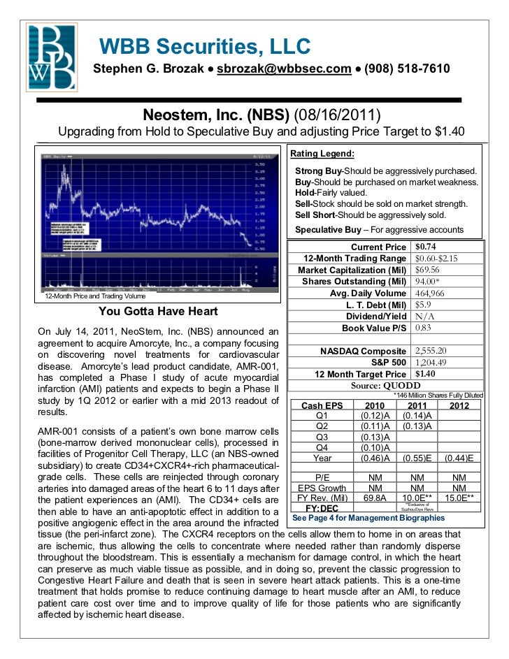 Neostem, Inc. ($NBS) - WBB Securities Report