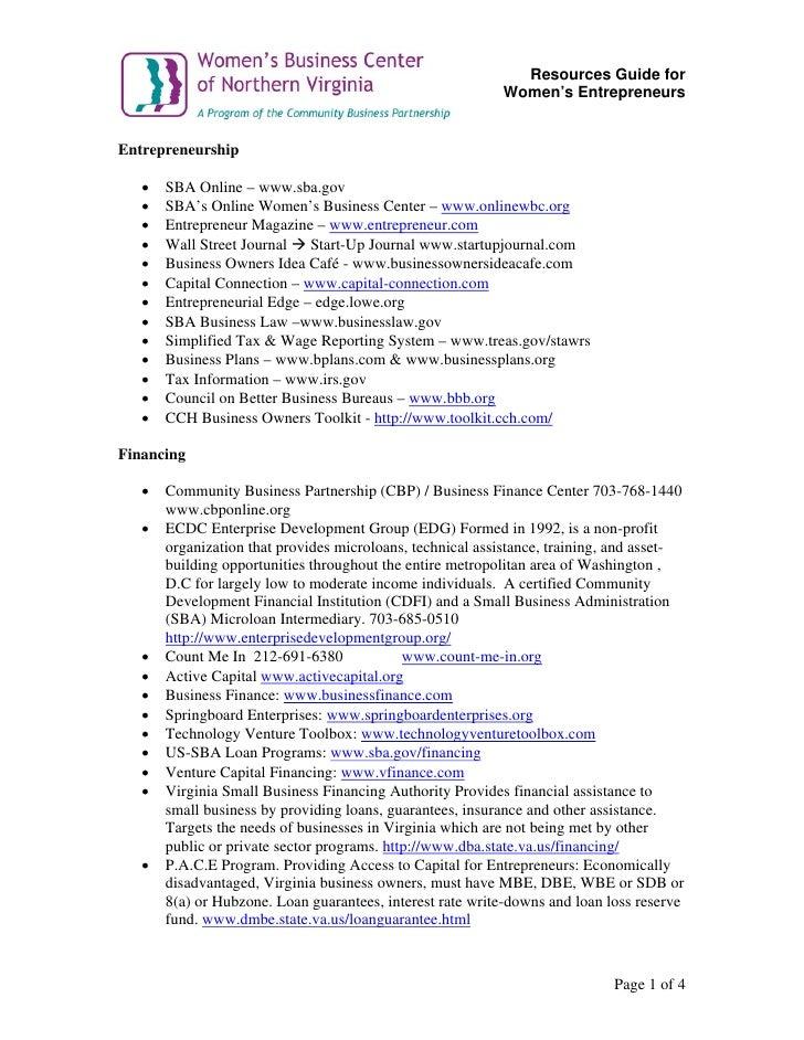 Resources Guide for                                                            Women's Entrepreneurs   Entrepreneurship   ...