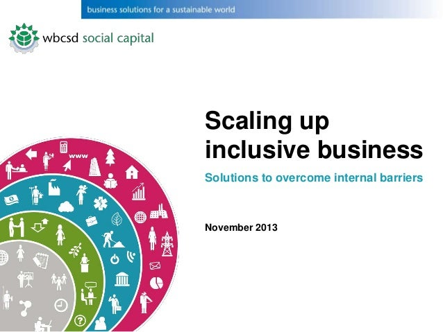 Scaling up inclusive business Solutions to overcome internal barriers  November 2013