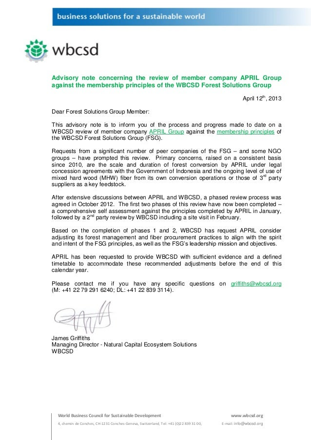 Advisory note concerning the review of member company APRIL Groupagainst the membership principles of the WBCSD Forest Sol...