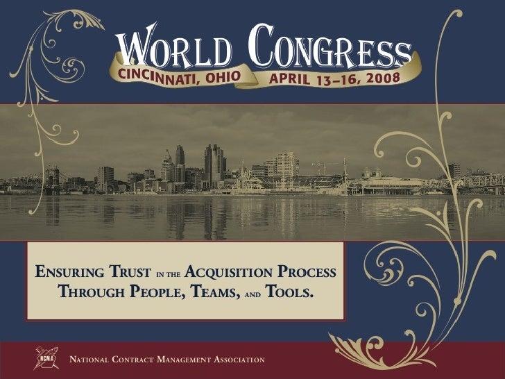 2008 NCMA World Congress Presentation - Contract Closeout