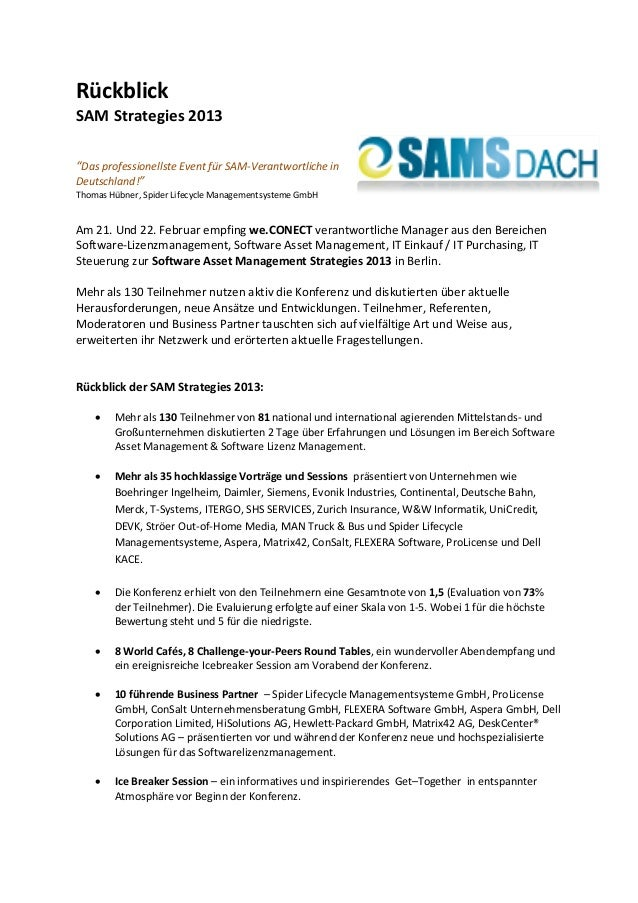 Rückblick SAM Strategies