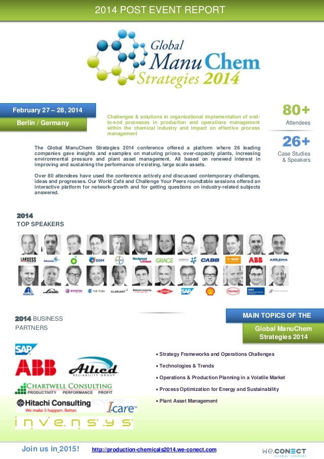 Join us in 2015! http://production-chemicals2014.we-conect.com 2014 TOP SPEAKERS 2014 BUSINESS PARTNERS Berlin / Germany 2...