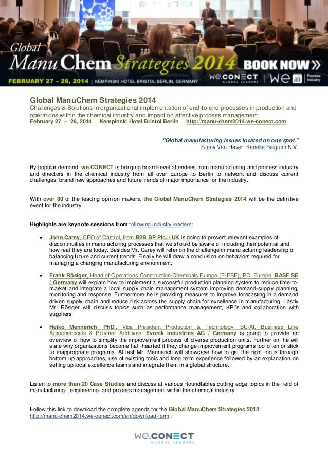 we.CONECT presents the annual Global ManuChem Strategies event!