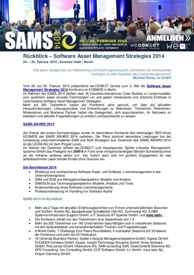 Software Asset Management Strategies 2014 Rückblick