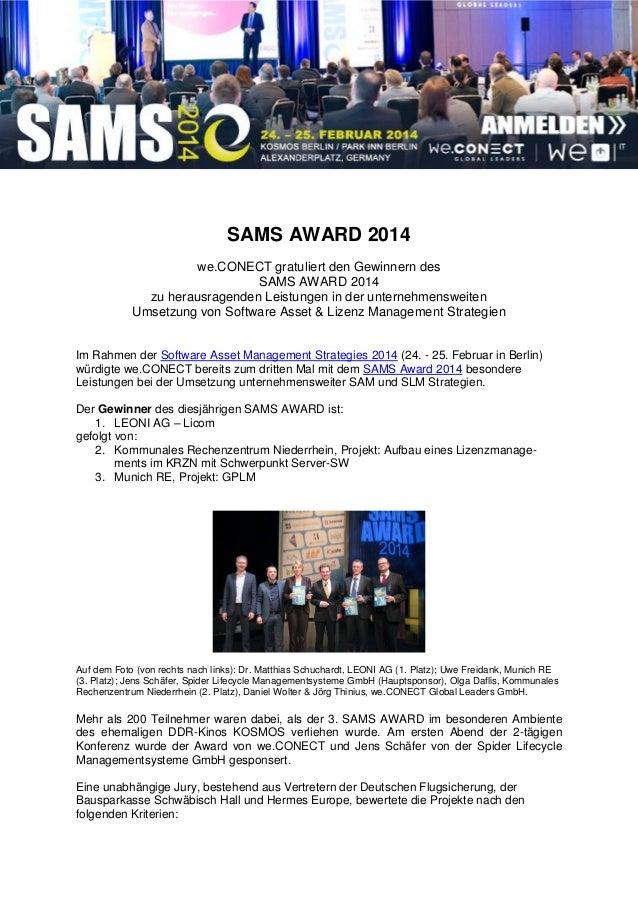 SAMS AWARD 2014 we.CONECT gratuliert den Gewinnern des SAMS AWARD 2014 zu herausragenden Leistungen in der unternehmenswei...
