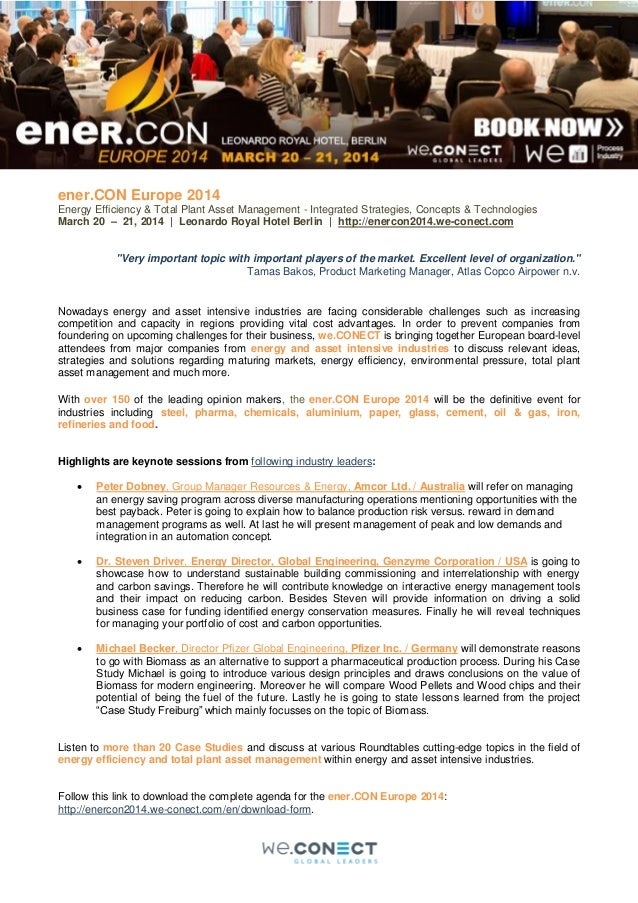 ener.CON Europe 2014 Energy Efficiency & Total Plant Asset Management - Integrated Strategies, Concepts & Technologies Mar...