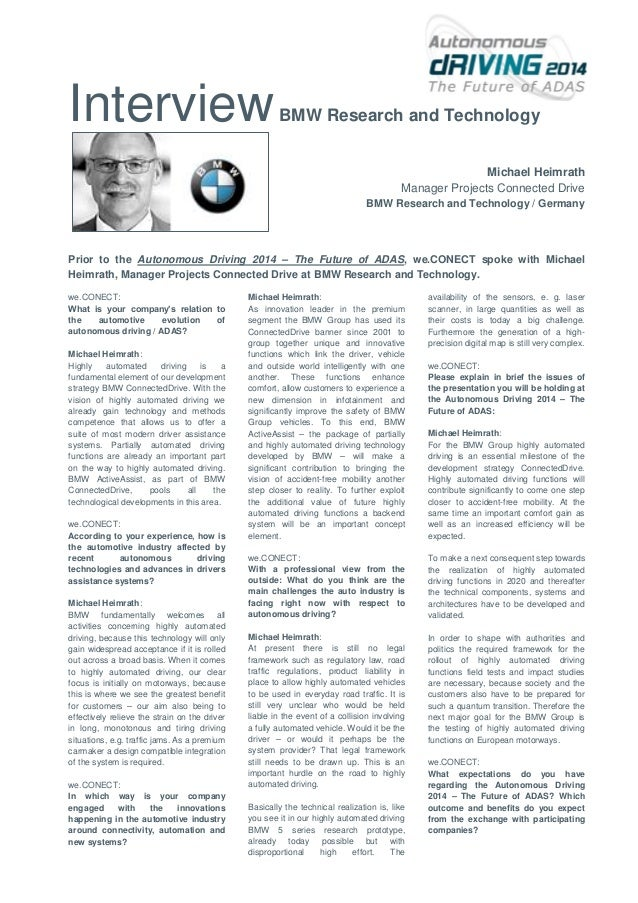 Interview  BMW Research and Technology  Michael Heimrath Manager Projects Connected Drive BMW Research and Technology / Ge...