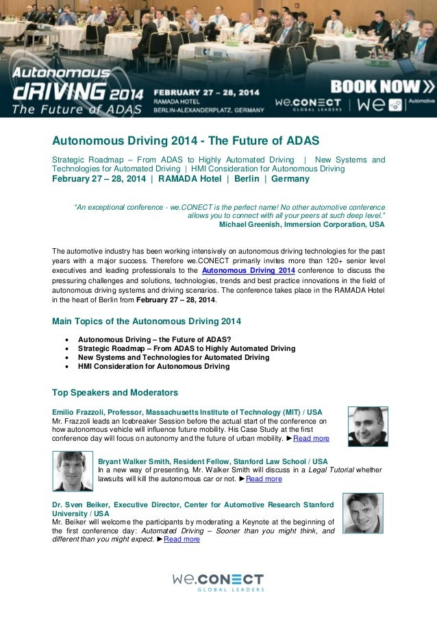 Autonomous Driving 2014 - The Future of ADAS Strategic Roadmap – From ADAS to Highly Automated Driving | New Systems and T...