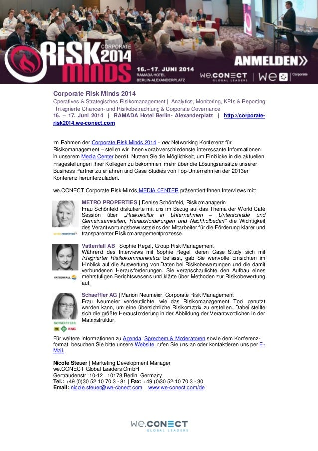 Corporate Risk Minds 2014 Operatives & Strategisches Risikomanagement | Analytics, Monitoring, KPIs & Reporting | Integrie...
