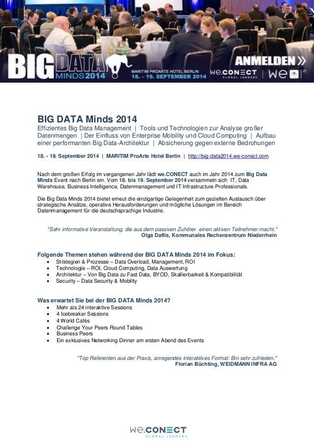 BIG DATA Minds 2014 Effizientes Big Data Management | Tools und Technologien zur Analyse großer Datenmengen | Der Einfluss...