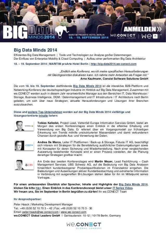 Big Data Minds 2014  Effizientes Big Data Management | Tools und Technologien zur Analyse großer Datenmengen Der Einfluss ...