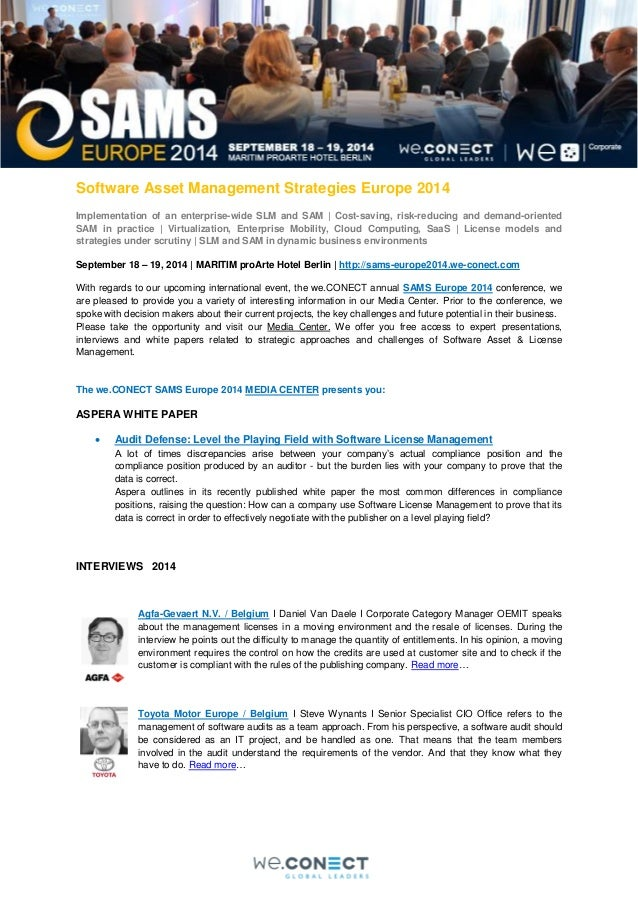 Software Asset Management Strategies Europe 2014 Implementation of an enterprise-wide SLM and SAM | Cost-saving, risk-redu...