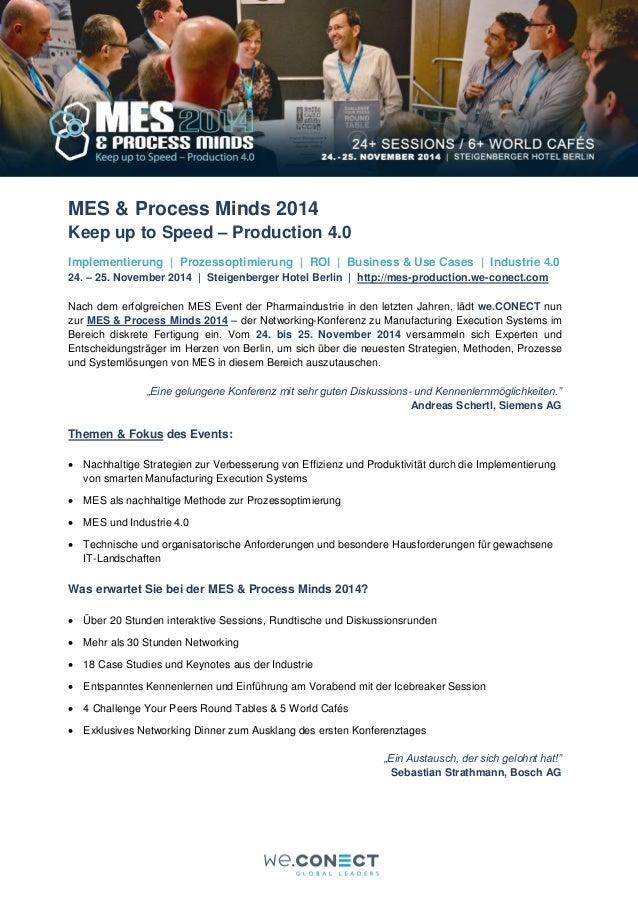 Eine Vorschau: Die MES & Process Minds - Keep up to Speed - Production 4.0