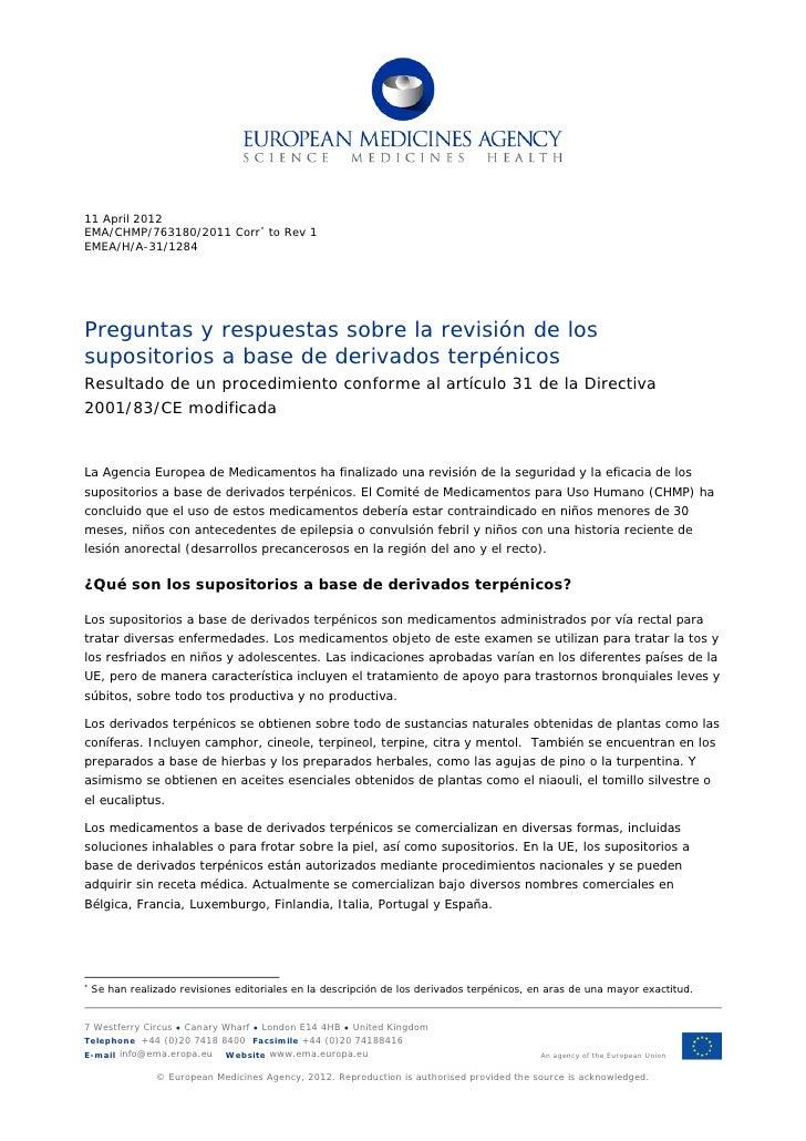 Preguntas y respuestas sobre la revision de los supositorios a base de derivados terpenicos