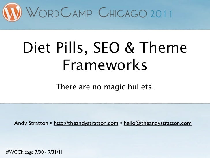 Diet Pills, SEO & Theme             Frameworks                     There are no magic bullets.   Andy Stratton • http://th...
