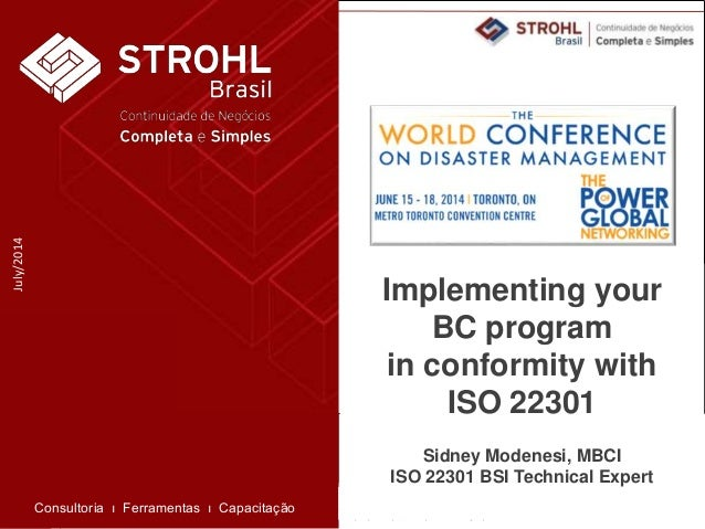 Implementing your BC program in conformity with ISO 22301