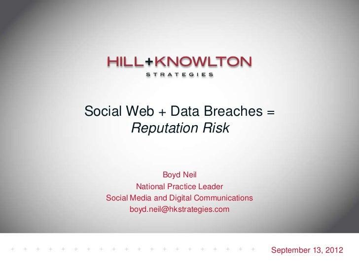 Social Web + Data Breaches = Reputation Risk