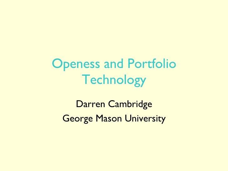 Openess and Portfolio Technology