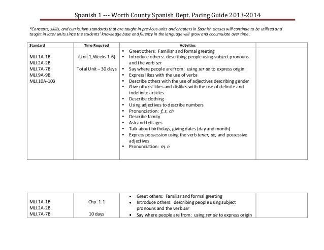Wchs spanish 1 pacing guide 2013