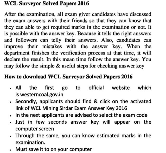 Wcl mining sirdar 2016 exam answer key and check updated exam result